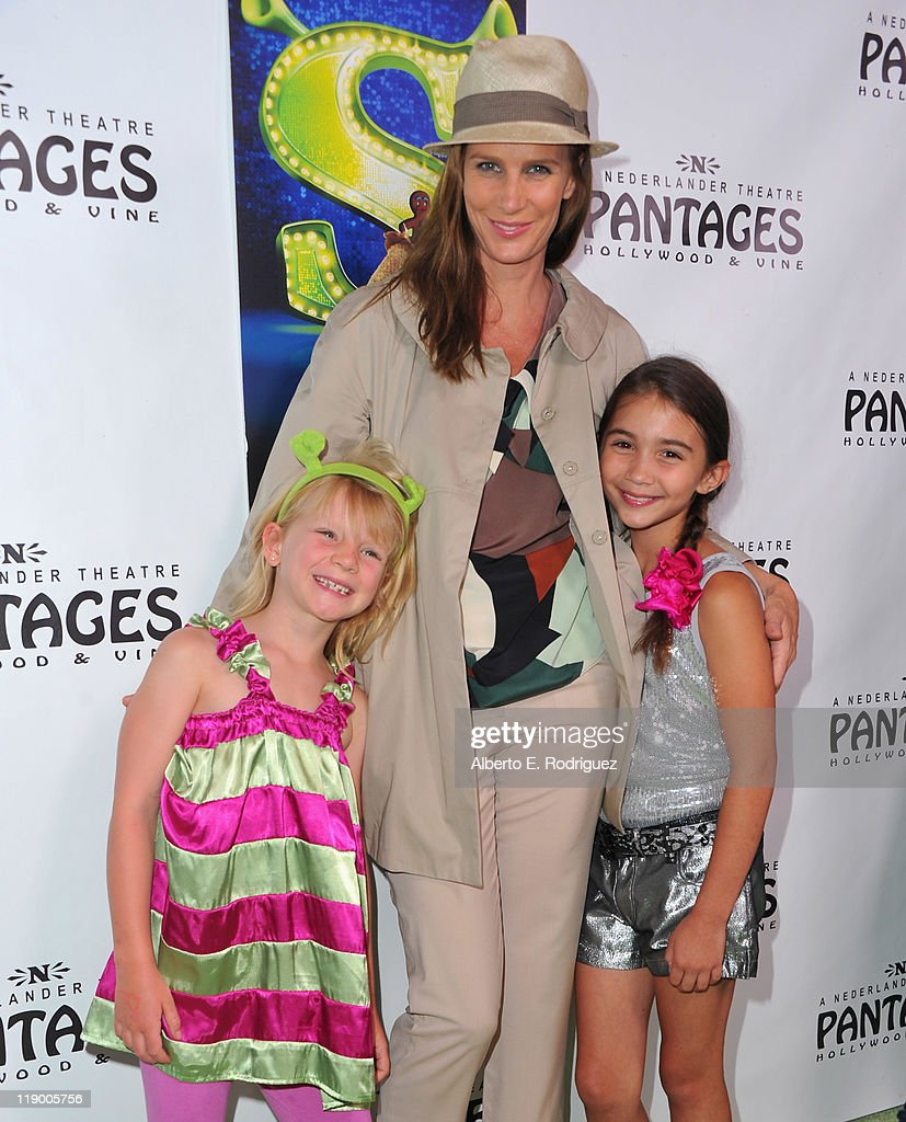 Actress Rachel Griffiths, daughter Adelaide Taylor (L) and actress Rowan Blanchard (R) arrive to the Los Angeles Opening Night of 'Shrek The Musical' at the Pantages Theatre on July 13, 2011 in Hollywood, California.