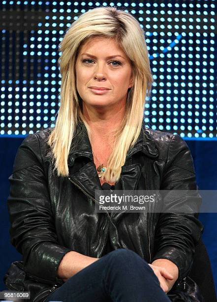 """Actress Rachel Hunter of the television show """"Gravity"""" speaks during the Starz Network portion of The 2010 Winter TCA Press Tour at the Langham Hotel..."""