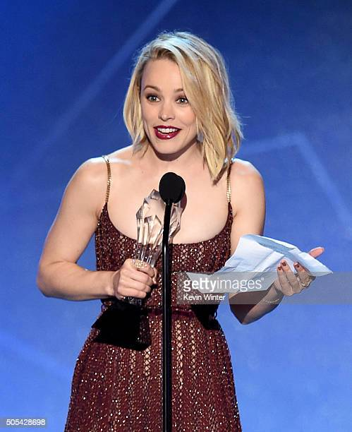 Actress Rachel McAdams accepts Best Acting Ensemble award for 'Spotlight' onstage during the 21st Annual Critics' Choice Awards at Barker Hangar on...