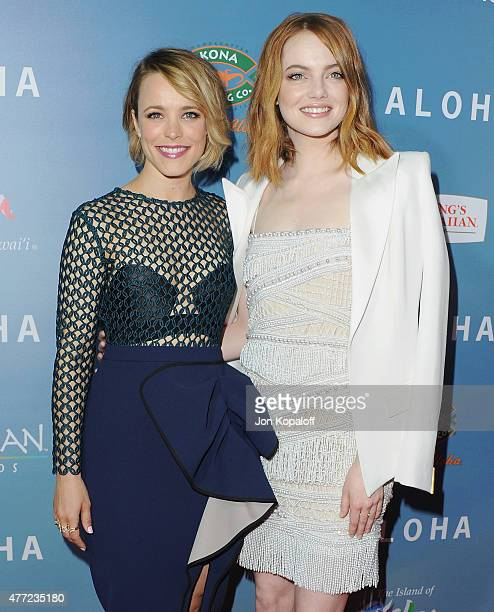 """Actress Rachel McAdams and actress Emma Stone arrive at the Los Angeles Premiere """"Aloha"""" at The London West Hollywood on May 27, 2015 in West..."""