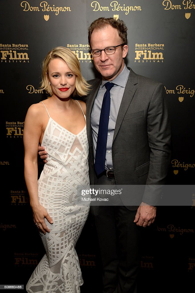 Actress Rachel McAdams (L) and director Tom McCarthy visit the Dom Perignon Lounge at The Santa Barbara International Film Festival on February 5, 2016 in Santa Barbara, California.