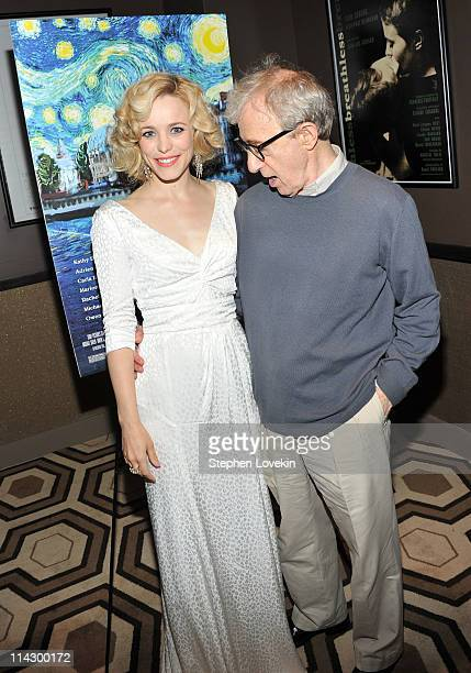 Actress Rachel McAdams and director Woody Allen attend The Cinema Society Thierry Mugler screening of Midnight in Paris at Tribeca Grand Screening...