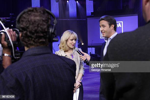 Actress Rachel McAdams and host Ben Mulroney inside the studio during rehearsals for the Canada for Haiti Benefit on January 22 2010 in Toronto Canada