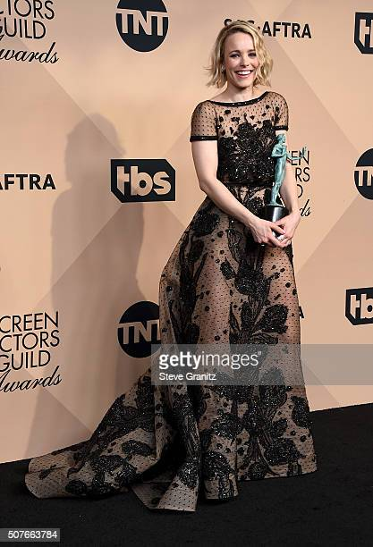 Actress Rachel McAdams cowinner of Outstanding performance by a cast in a motion picture for Spotlight poses in the press room during the 22nd Annual...