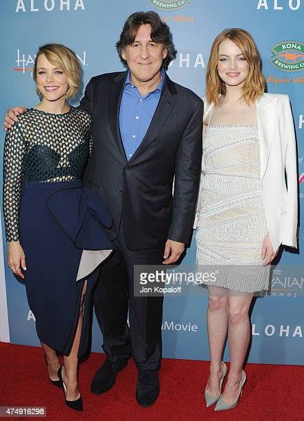 """Actress Rachel McAdams, director Cameron Crowe and actress Emma Stone arrive at the Los Angeles Premiere """"Aloha"""" at The London West Hollywood on May..."""