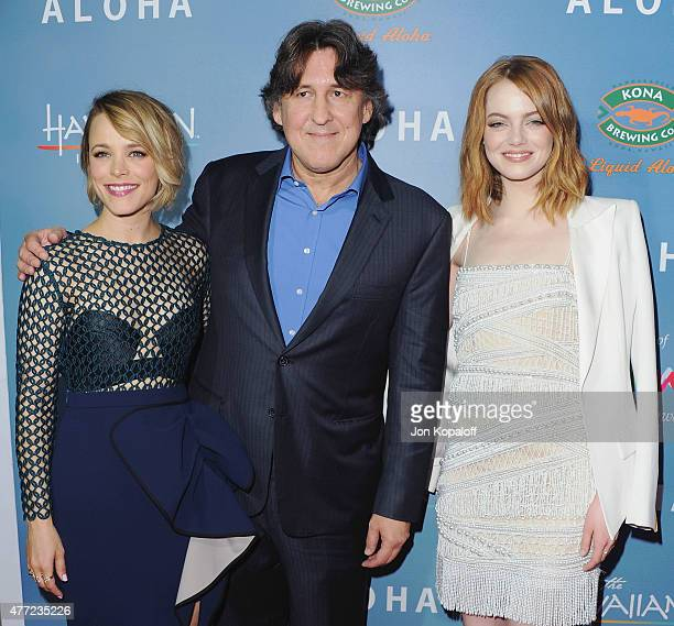 Actress Rachel McAdams director Cameron Crowe and actress Emma Stone arrive at the Los Angeles Premiere Aloha at The London West Hollywood on May 27...