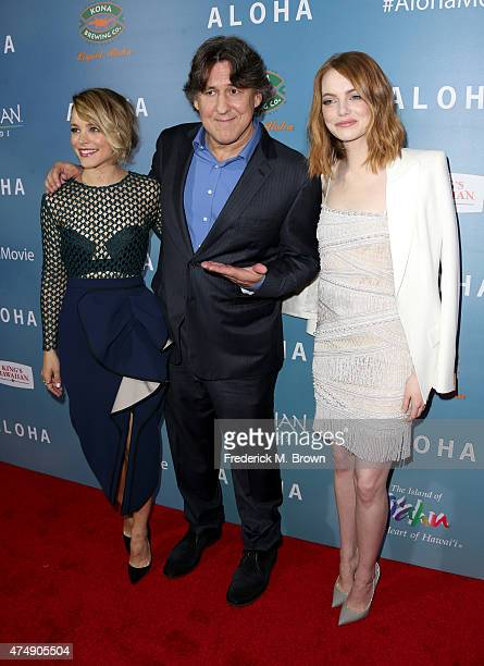 Actress Rachel McAdams filmmaker Cameron Crowe and actress Emma Stone attend the special screening of Columbia Pictures' 'ALOHA' at The London West...