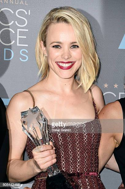 Actress Rachel McAdams from Spotlight winner of the award for Best Picture poses in the press room during the 21st Annual Critics' Choice Awards at...