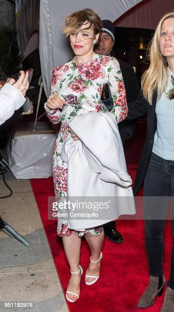 Actress Rachel McAdams leaving the 'Disobedience' premiere during the 2018 Tribeca Film Festival at BMCC Tribeca PAC on April 24, 2018 in New York...