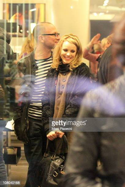 Actress Rachel McAdams sighting at 'Colette' store rue Saint Honore on January 14 2011 in Paris France