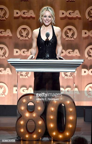 Actress Rachel McAdams speaks onstage at the 68th Annual Directors Guild Of America Awards at the Hyatt Regency Century Plaza on February 6 2016 in...