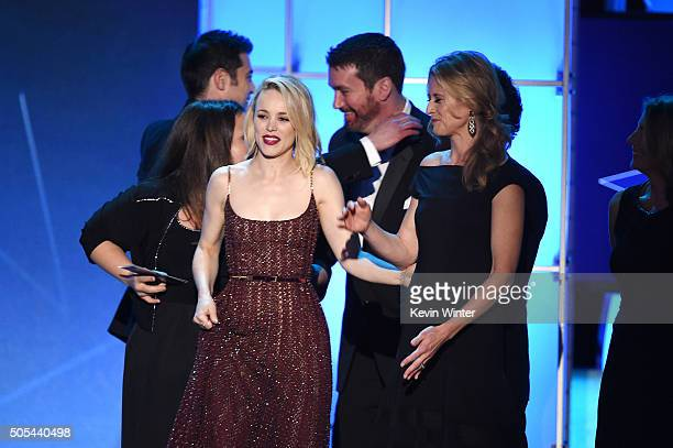 Actress Rachel McAdams with producers and editor Tom McArdle accept the Best Picture award for 'Spotlight' onstage during the 21st Annual Critics'...