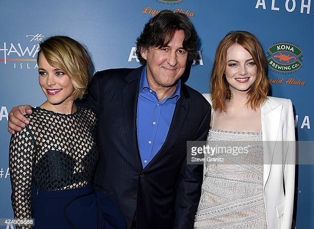 Actress Rachel McAdams writer/director Cameron Crowe and actress Emma Stone attend the Aloha Los Angeles premiere at The London West Hollywood on May...