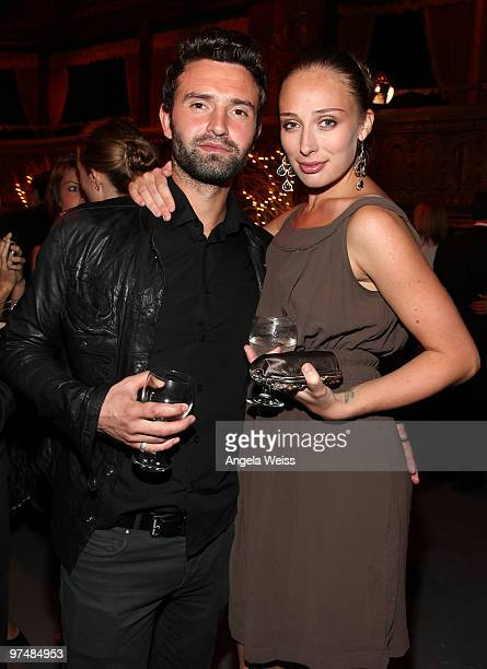 Actress Rachel McDowell and James Hesketh attend the 'Believe In Dreams' PreOscar party hosted by Chandler Lutz and Ernest Borgnine at Universal...