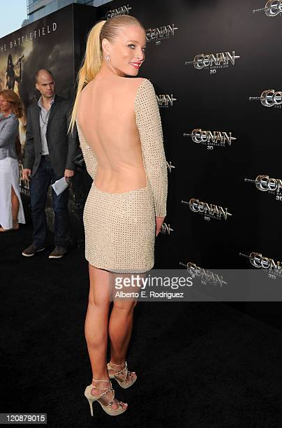 Actress Rachel Nichols arrives at the premiere of Lionsgate Films' Conan The Barbarian on August 11 2011 in Los Angeles California