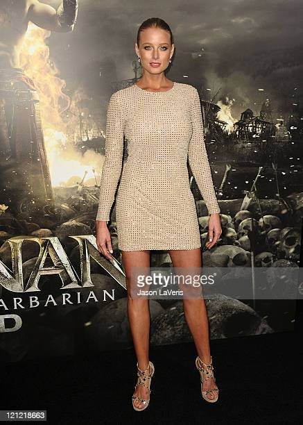 Actress Rachel Nichols attends the premiere of Conan The Barbarian at Regal 14 at LA Live Downtown on August 11 2011 in Los Angeles California