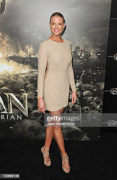 Actress Rachel Nichols attends the world premiere of 'Conan The Barbarian' held at Regal Cinemas L.A. Live on August 11, 2011 in Los Angeles,...