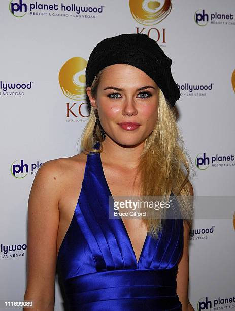 Actress Rachel Taylor arrives at the grand opening of KOI Las Vegas at The Planet Hollywood Resort Casino on November 09 2007 in Las Vegas Nevada