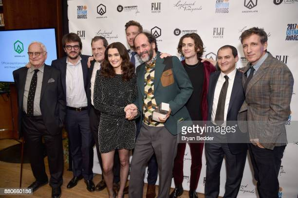 Actress Rachel Weisz director Luca Guadagnino and the cast of Call Me by Your Name pose with the Best Feature Film award at The 2017 IFP Gotham...