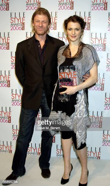 Actress Rachel Weisz poses backstage in the Awards Room with the Most Stylish Actress Award presented by actor Sean Bean at the ELLE Style Awards...