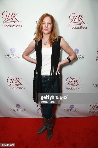 Actress Rachelle Lefevre poses at the Golden Globe Gift Suite Presented by GBK Productions on January 9 2009 in Beverly Hills California