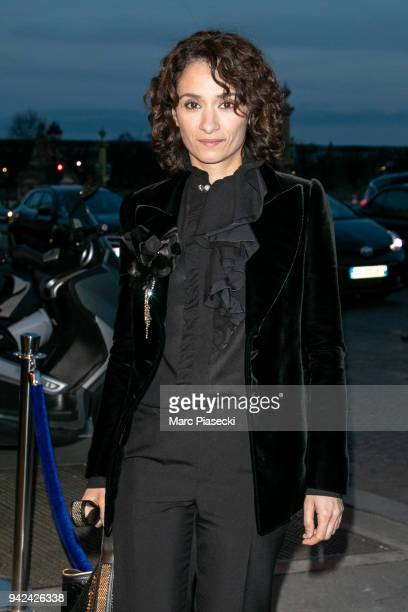Actress Rachida Brakni arrives to attend the 'Madame Figaro' dinner at Automobile Club de France on April 5 2018 in Paris France