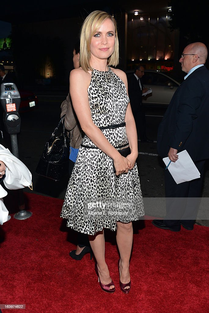 Actress Radha Mitchell arrives at the premiere of FilmDistrict's 'Olympus Has Fallen' at ArcLight Cinemas Cinerama Dome on March 18, 2013 in Hollywood, California.