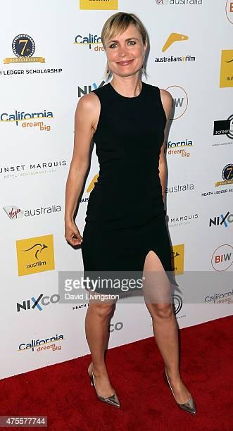 Actress Radha Mitchell attends Australians In Film Heath Ledger Scholarship Announcement Dinner at Sunset Marquis Hotel & Villas on June 1, 2015 in...