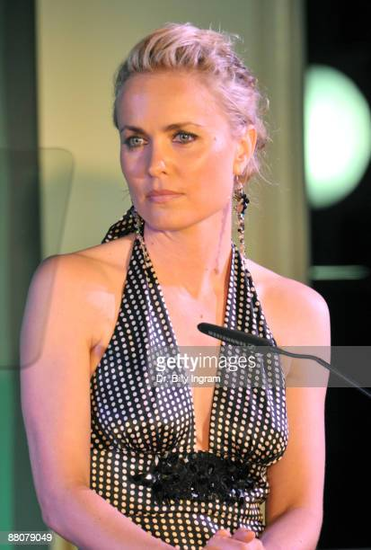COVERAGE** Actress Radha Mitchell speaks at the Global Green USA's 13th Annual Millennium Awards at the Fairmont Miramar Hotel on May 30 2009 in...