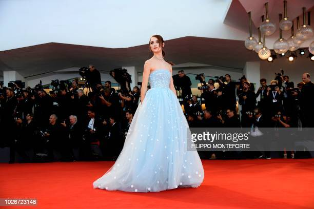 Actress Raffey Cassidy arrives for the premiere of the film Vox Lux presented in competition on September 4 2018 during the 75th Venice Film Festival...