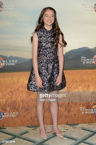Actress Raffey Cassidy poses during the Tomorrowland A World Beyond Photocall at Claridges Hotel on May 18 2015 in London England
