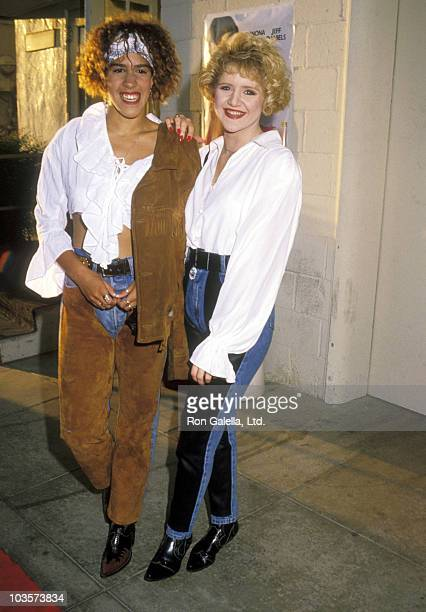 Actress Rain Pryor and Actress Tina Yothers attends the Welcome Home Roxy Carmichael Hollywood Premiere on September 30 1990 at Paramount Studios in...