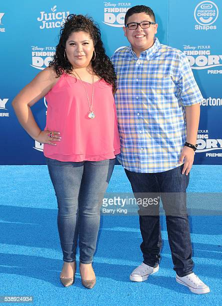 Actress Raini Rodriguez and actor Rico Rodriguez attend the world premiere of DisneyPixar's 'Finding Dory' at the El Capitan Theatre on June 8 2016...