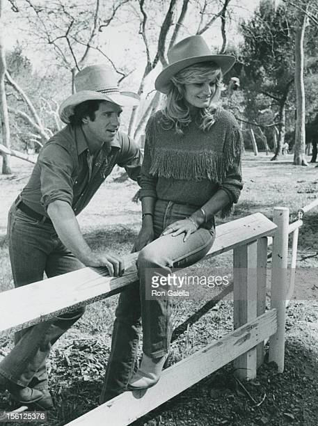 Actress Randi Brooks and actor Tom Wopat being photographed for an exclusive photo session on April 16 1983 at Crestwood Hills Park in Los Angeles...