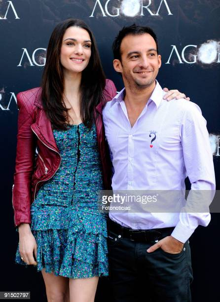Actress Raquel Weisz and director Alejandro Amenabar attend the 'Agora' photocall at the Biblioteca Nacional on October 6 2009 in Madrid Spain