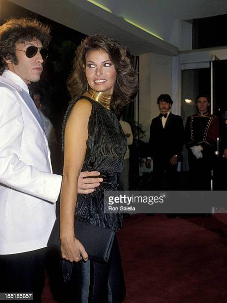 Actress Raquel Welch and boyfriend Andre Weinfeld attend 'The Muppets Go Hollywood' Premiere Party on April 6 1979 at the Cocoanut Grove The...