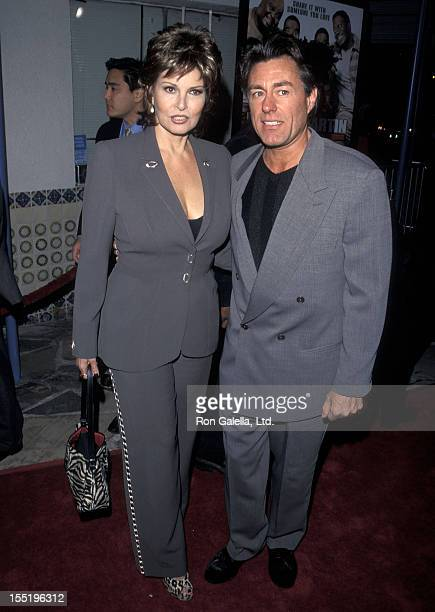 Actress Raquel Welch and boyfriend Richard Palmer attend the Life Westwood Premiere on April 13 1999 at Mann Village Theatre in Westwood California