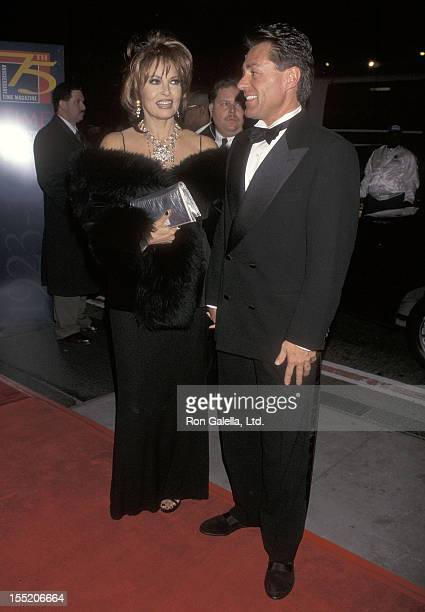 Actress Raquel Welch and boyfriend Richard Palmer attend the Time Magazine's 75th Anniversary Celebration on March 3, 1998 at Radio City Music Hall...