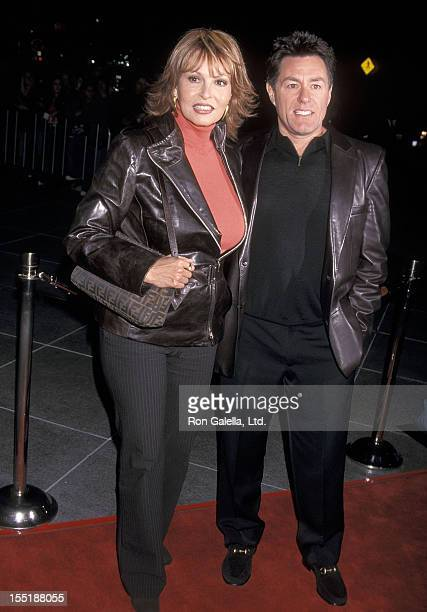 Actress Raquel Welch and husband Richard Palmer attend the Dragonfly Los Angeles Premiere on February 18 2002 at the DGA Theatre in Los Angeles...