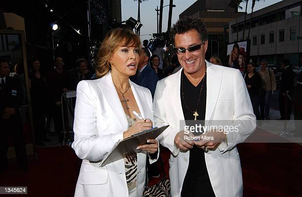 "Actress Raquel Welch and husband, Richard Palmer, sign autographs prior to the premiere of ""Serving Sara"" at the Samuel Goldwyn Theater on August 20,..."