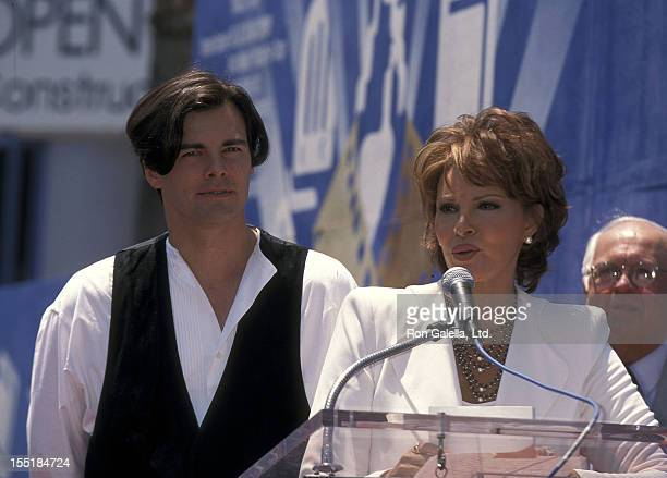 Actress Raquel Welch and son Damon Welch attend the Hollywood Walk of Fame Star Salute to Raquel Welch on June 8 1996 at 7021 Hollywood Boulevard in...