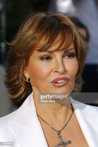 "Actress Raquel Welch attends the premiere of ""Serving Sara"" at the Samuel Goldwyn Theater on August 20, 2002 in Beverly Hills, California. The film..."