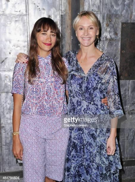 Actress Rashida Jones and designer Rebecca Taylor pose backstage at the Rebecca Taylor fashion show during MercedesBenz Fashion Week Spring 2015 at...
