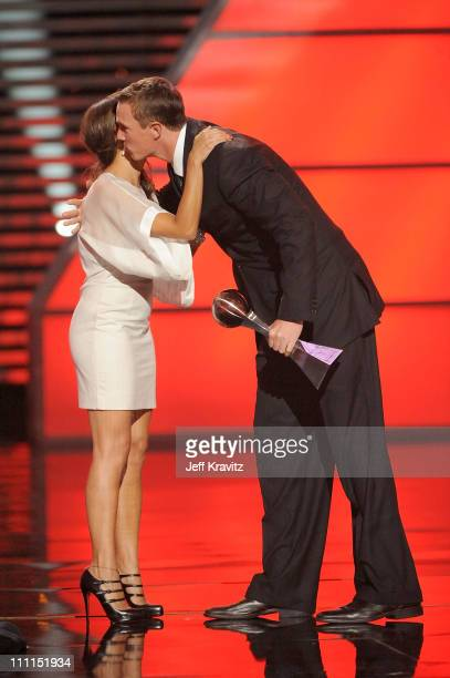 Actress Rashida Jones and football player Matt Ryan onstage during the 17th annual ESPY Awards held at Nokia Theatre LA Live on July 15 2009 in Los...