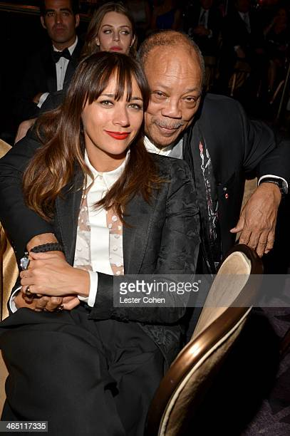 Actress Rashida Jones and producer Quincy Jones attend the 56th annual GRAMMY Awards PreGRAMMY Gala and Salute to Industry Icons honoring Lucian...