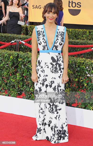 Actress Rashida Jones arrives at the 21st Annual Screen Actors Guild Awards at The Shrine Auditorium on January 25 2015 in Los Angeles California