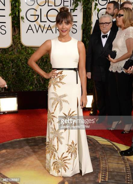 Actress Rashida Jones attends the 71st Annual Golden Globe Awards held at The Beverly Hilton Hotel on January 12 2014 in Beverly Hills California