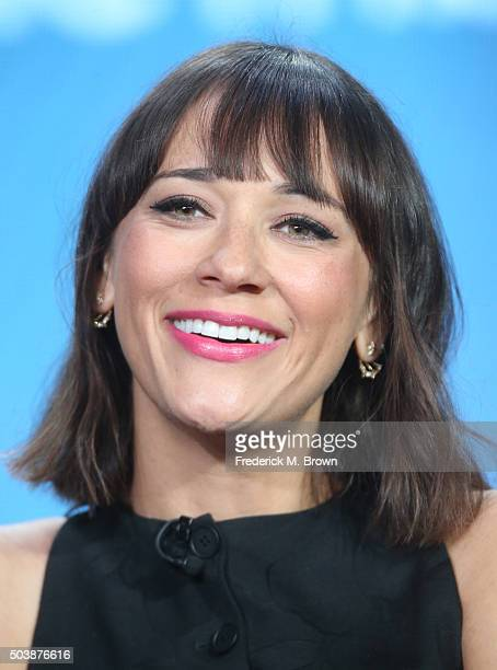 Actress Rashida Jones speaks onstage during TBS's Angie Tribeca panel as part of the Turner Networks portion of This is Cable Television Critics...