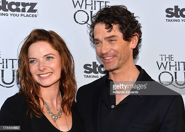 Actress Rebecca Ferguson and actor James Frain arrive at 'Cocktails with the Queen' the British Consulate's toast to the US launch of the Starz...