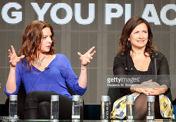 Actress Rebecca Ferguson and Screenwriter/Associate Producer Emma Frost speak onstage during the The White Queen panel discussion at the Starz...